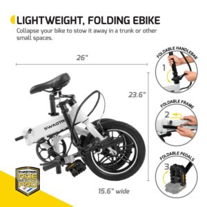 SwagCycle EB-5 Pro Lightweight and Aluminum Folding EBike dimensions